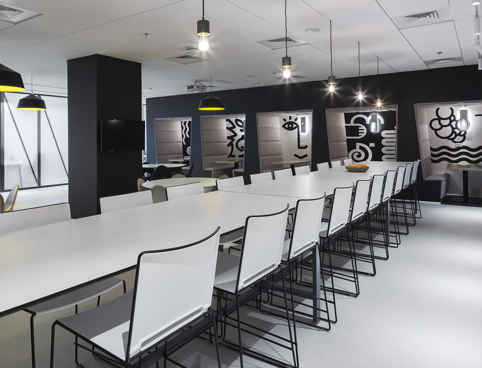 עיצוב משרדים | מיתוג גרפי | חברת אולסקרייפט | קפיטריה | עיצוב גרפי במרחב | מיתוג משרדים | עיצוב חללי עבודה | עיצוב קירות